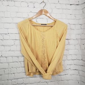 American Eagle Yellow Smocked Long Sleeve Crop Top High Waisted Festival